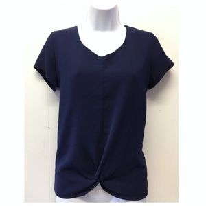 Monteau | Navy Blue T-shirt Blouse Front Detail